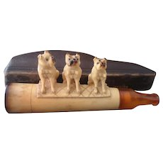Antique meerschaum cigar holder, pug dogs, Georg Koppa