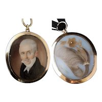 Georgian gold mourning locket, 15k, hairwork, portrait pendant