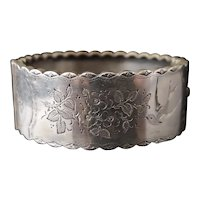 Victorian silver cuff bangle, aesthetic