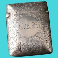 Victorian silver vesta case, leaf engraved