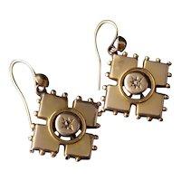 Victorian diamond drop earrings, 9k gold