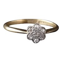 Antique diamond daisy ring, 18k and platinum