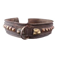 Victorian dog collar, leather and brass