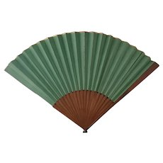 Antique hand fan, green and gilt, large