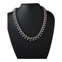 Victorian silver book chain necklace