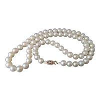 Vintage 1940s cultured pearl necklace, 14k gold