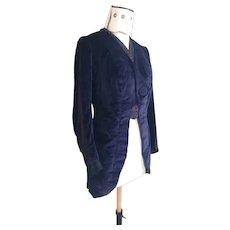 Antique Edwardian ladies frock coat, blue velvet