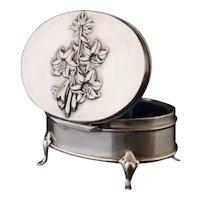 Antique silver jewelry casket, Art Nouveau box