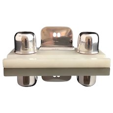 Art Deco Silver and Alabaster desk stand, inkstand