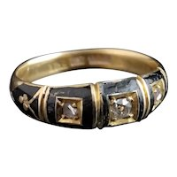 Victorian Diamond Mourning ring, 18k gold