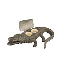 Antique Crocodile inkwell, inkstand