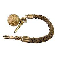 Antique Hairwork watch chain, 18k gold key