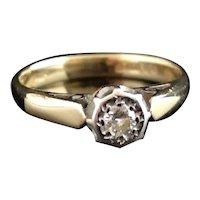 Vintage Diamond solitaire ring, 9k, 1970's