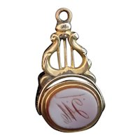 Antique 9ct gold spinning fob, Bloodstone, Sardonyx