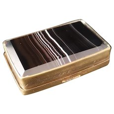 Antique banded agate snuff box