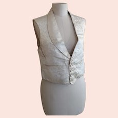 Antique Victorian ivory silk waistcoat