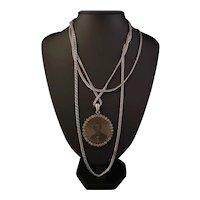 Victorian paste pendant, silver longuard chain, memorial