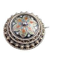 Antique Champleve enamel brooch, silver gilt