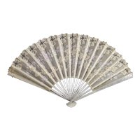Victorian silk and lace hand fan, sequin, hand painted