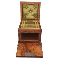 Victorian walnut jewellery box, fall front