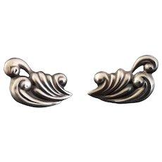 Vintage Mexican silver wave earrings, screwback