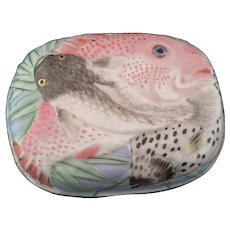Vintage Japanese ceramic lidded box, Fish