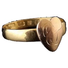 Victorian 22k gold band ring, heart