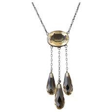 Antique Citrine drop necklace