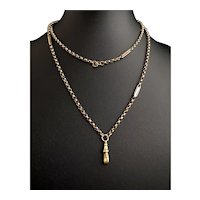 Antique 9k gold muff chain, necklace