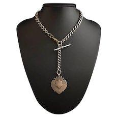 Antique Victorian silver Albert chain, watch chain