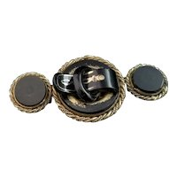 Antique Victorian buckle brooch, French jet