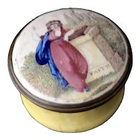 Antique Georgian Bilston Enamel box, Faith