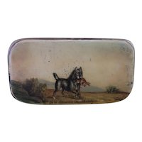 Antique Georgian snuff box, Hunting Dog