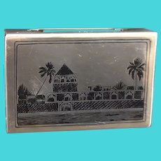 Vintage silver niello match safe, match book holder