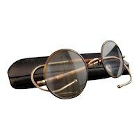 Vintage Art Deco spectacles, round, faux tortoiseshell