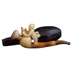 Antique meerschaum pipe Victorian barmaid