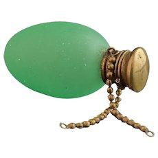 Victorian egg scent bottle, green glass