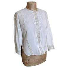 Antique Edwardian lawn cotton blouse
