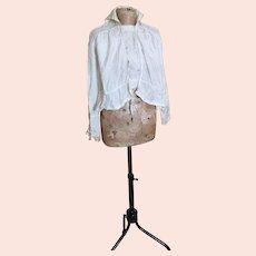 Antique cream silk ruffle blouse