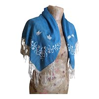 Vintage Art Deco embroidered shawl