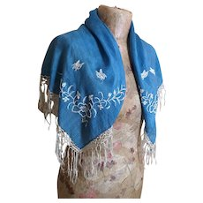 Vintage Art Deco embroidered shawl