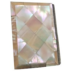 Antique mother of pearl card case, aide memoir