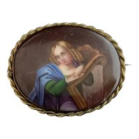 Antique porcelain portrait brooch, 19th century