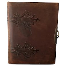 Victorian photograph album, embossed leather, Herborita