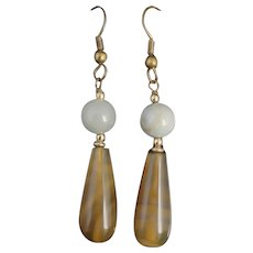 Vintage Art Deco agate drop earrings