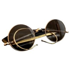 Vintage Art Deco spectacles, 1920s round framed glasses