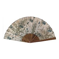 Antique floral hand fan, Edwardian