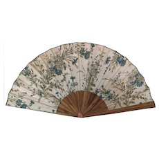 Antique floral hand fan, Edwardian