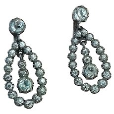 Antique silver and paste drop earrings
