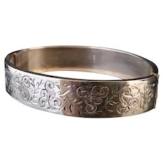 Victorian silver bangle, aesthetic engraved
